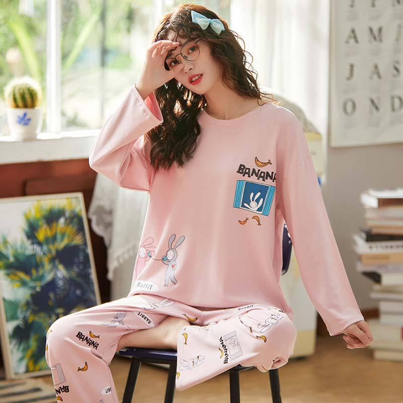 X3933 # Banana Rabbit Emblem Pullover LZ Long Sleeve Korean-style Sweet Pajamas Tracksuit Piece Series