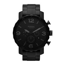 цена на Fossil Men Watch Nate Chronograph Black Stainless Steel Watch Black Dial Quartz Metal Casual Watch JR1401