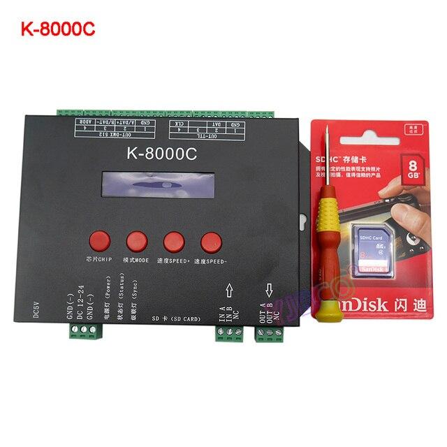 Cartão sd programável K 8000C dmx/spi, controlador do pixel do led; fora da linha; DC5 24V para rgb cor completa led pixel luz tira