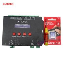 Controlador de píxeles LED con tarjeta SD DMX/SPI programable de K-8000C; fuera de línea; DC5-24V para la tira de luz de píxeles led RGB a todo color