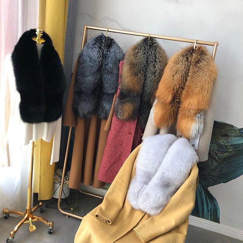 MS. MinShu bufanda de piel de zorro auténtica de lujo bufanda de piel de zorro Real chal de piel de zorro Natural de gran tamaño invierno mujer estola envío gratis