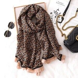 Image 3 - Luxury brand winter leopard silk scarf women Soft Pashminas shawls cotton scarves Sjaal muslim hijab animal print leopardo cape