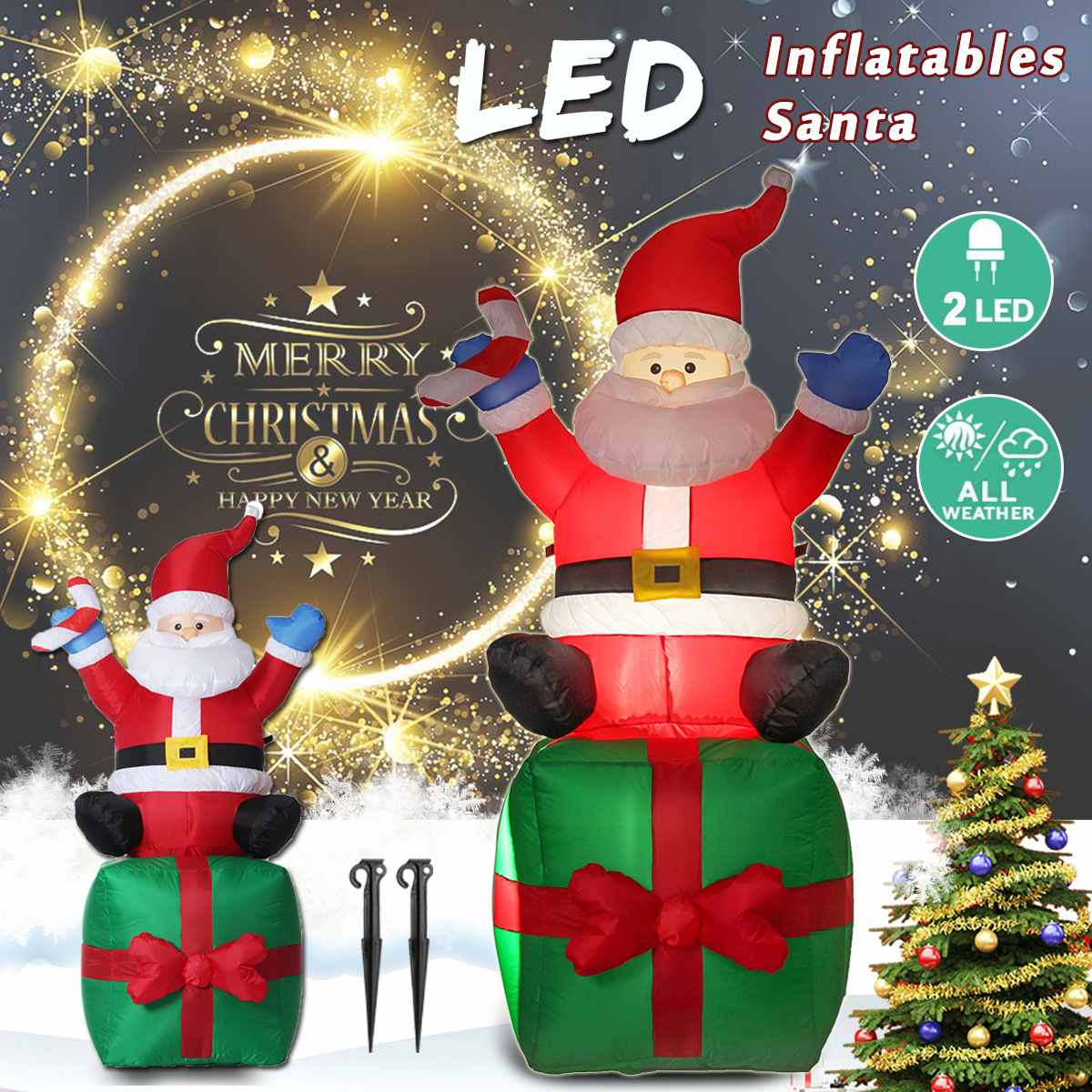 1.8M Giant Christmas Inflatable Santa on Present Xmas Santa Claus with Lights Outdoor Garden New Year Party Decoration Ornaments