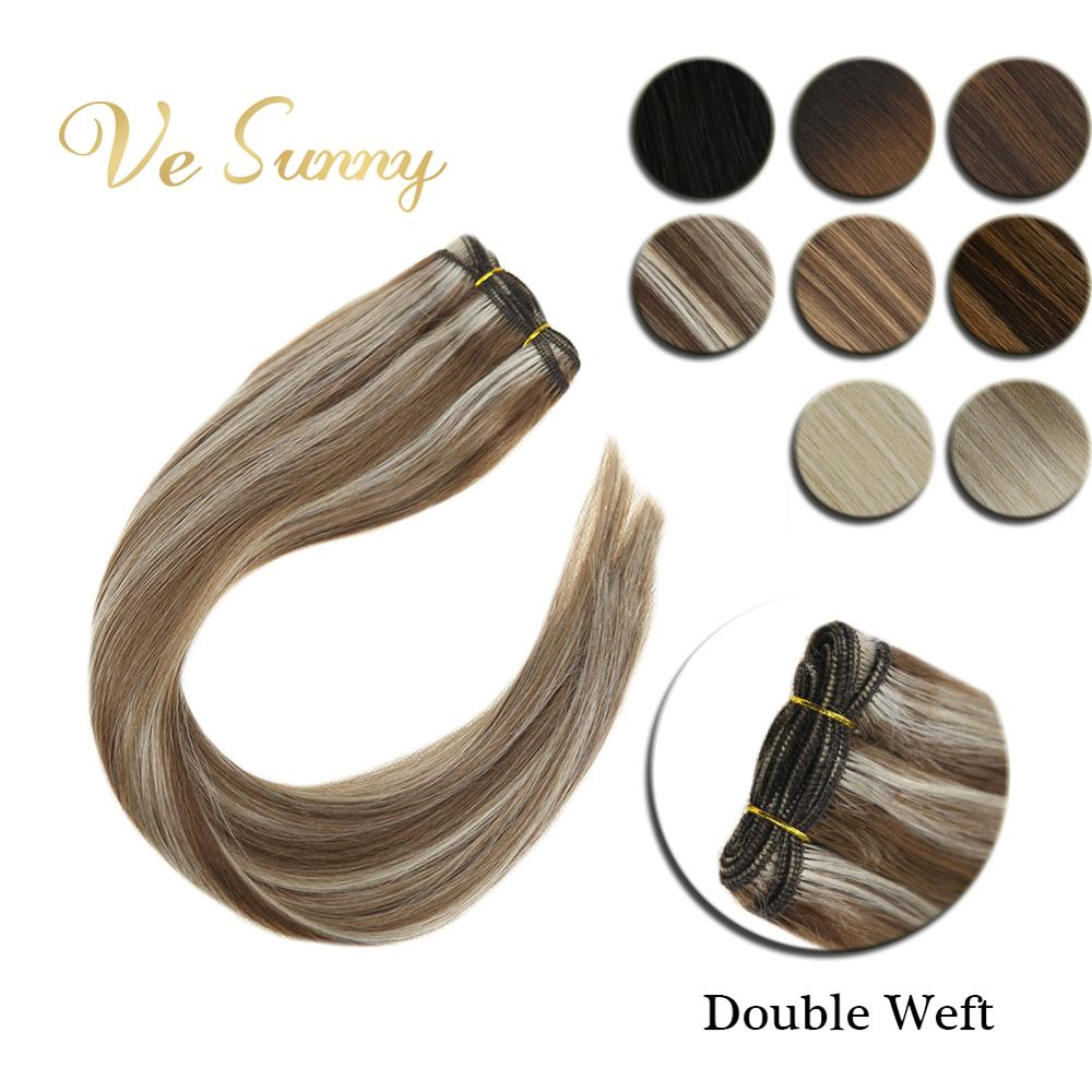 VeSunny Sew In Hair Weft Human Hair Machine Made Remy Hair Double Weft Straight Bundle 14-24inch Balayage Ombre Highlights Color