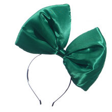 Party Wedding Ladies Satin Large Bow Headband Children Solid Color loverly cute hair accessories Girls Head Wear Hair Style(China)