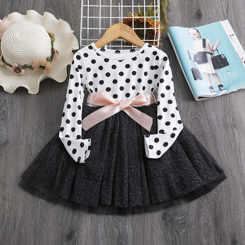 Kids Dresses for Girls 2020 Autumn Winter Long Sleeve Polka Dots Soft Cotton Children Clothing Bowknot Belt Girl Casual Wear