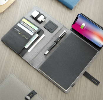 2020 trends A5 business travel notebook padfolio with wireless 5000mAh power charger foldable mobile stand rack cable loop
