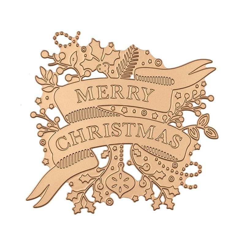 Merry Christmas Banner Frames Metal Hot Foil Plates For DIY Scrapbooking Letterpress Embossing Paper Cards Crafts 2019