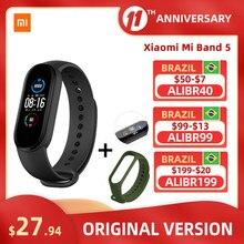 Xiaomi – Bracelet connecté Mi Band 5, moniteur de fréquence cardiaque, moniteur d'activité physique, écran couleur AMOLED 1.1 pouces, Bluetooth 5.0, étanche