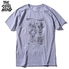 COOLMIND 100% cotton short sleeve men T shirt space print su