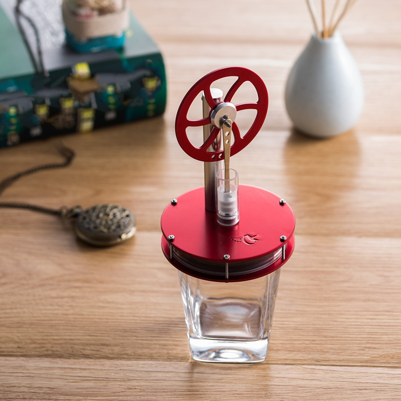 Low Temperature Metal Stirling Engine Motor Model Aluminum Alloy Kids Steam Heat Science Educational Toy Color Red