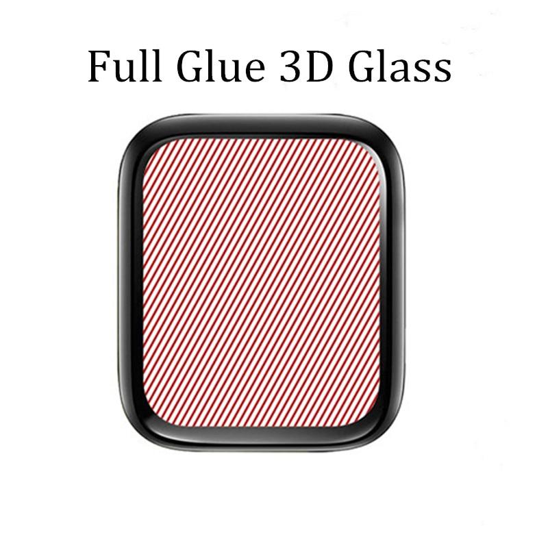 3D защитная пленка из закаленного стекла с закругленными краями для Apple Watch 3 2 1 38 мм 42 мм Защита экрана для iWatch 4 40 мм 44 мм полный клей - Цвет: Черный