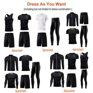 Image 4 - Ropa Deportiva de compresión para hombre, conjuntos de secado rápido para correr, corredores deportivos, entrenamiento, gimnasio, Fitness, conjunto para correr