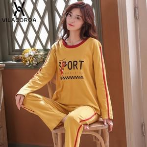 Image 5 - Autumn Winter Cotton Print Womens Pajamas Sleep Round Neck Long Sleeve Top Long Pant Pajamas Set Woman Sleepwear Pyjamas Women