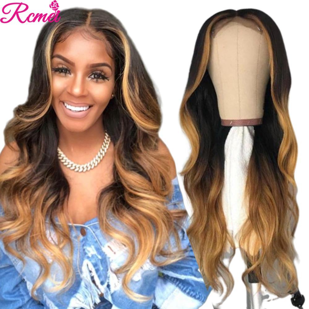 13x4 Long Blonde Body Wave Transparent #4/27 Ombre Lace Front Human Hair Wig Pre Plucked With Baby Hair Brazilian Remy Lace Wigs