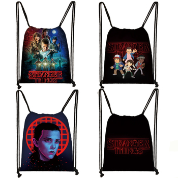 stranger things print drawstring bag teenager boys girls storage bag women men travel bag canvas fashion backpack bookbag