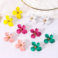 Sweet summer flower earrings Korea personality Joker temperament simple trendy red fashion