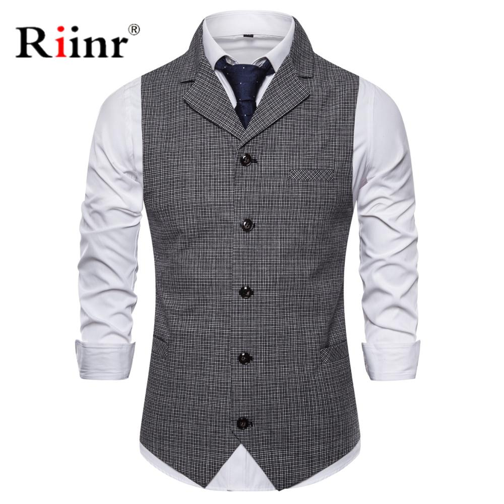 Riinr Men Suit Vest Single Breasted Mens Dress Vests 2019 Brand New V Neck Gilet Homme Slim Fit Sleeveless Wedding Waistcoat