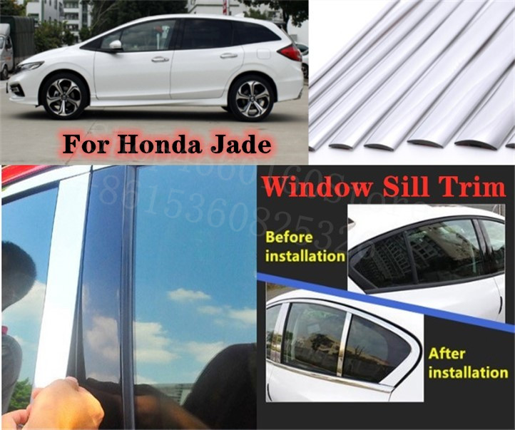 Puou High-quality Car Full Window Pillar Trim Cover Stainless Steel Chrome Decoration For Honda Jade 2013-2017 Car Styling
