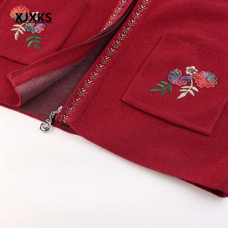 Xjxks 카디건 코트 새로운 가을, 겨울 지퍼 자수 캐시미어 카디건 여성 플러스 사이즈 두꺼운 아웃웨어 스웨터 여성 코트