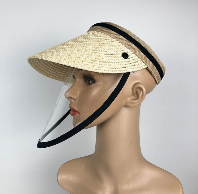 Anti Virus Sun Straw Hat Transparent Splash-proof Full Face Shield Mask Safe Protective Virus Protect anti Saliva Mask Shield 1