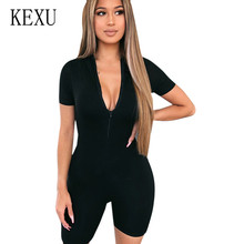 KEXU New Round Neck Short Sleeve Zipper Women Bandage Bodycon Jumpsuits Summer Festival Rave Black Gray Clothes Club Playsuits