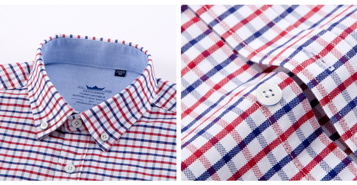 H73ff1bd645d0492d89042f465a3d19d6N - Men's Casual 100% Cotton Oxford Striped Shirt Single Patch Pocket Long Sleeve Standard-fit Comfortable Thick Button-down Shirts