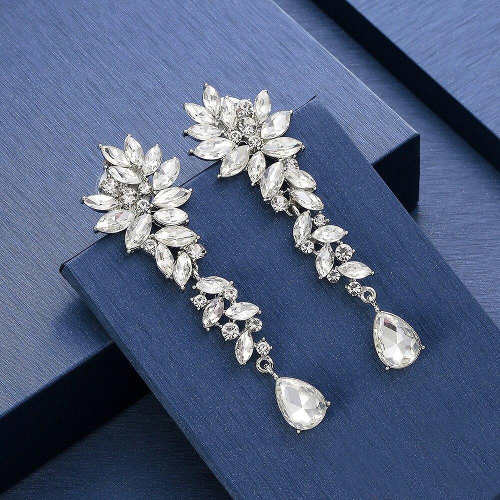 Mecresh Luxury Horse Eye Crystal Bridal Drop Earrings for Women Silver Color Leaf Wedding Dangle Earrings Fashion Jewelry EH946