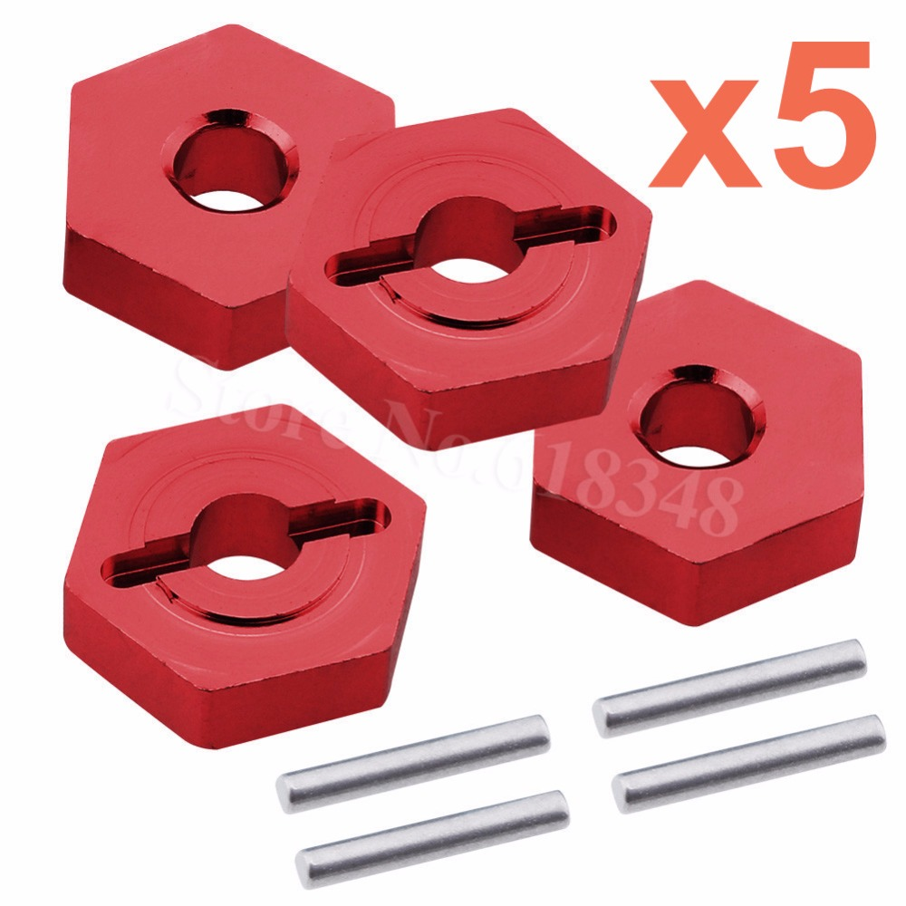 5Sets Aluminum 12mm <font><b>Wheel</b></font> Hex hubs With Pins For Traxxas 1/16 Slash 4WD E-Revo/VXL Summit VXL <font><b>RC</b></font> Hobby Car Hop Up Parts 7154X image