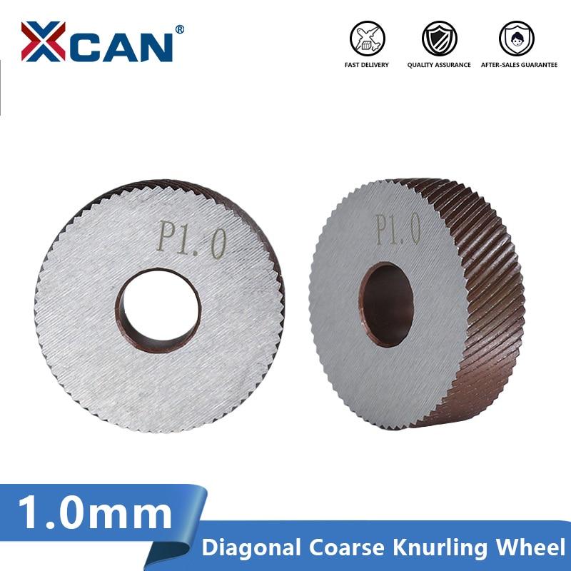 XCAN 2pcs 1.0mm Anti Slip HSS Diagonal Coarse Knurling Wheel Diameter 26mm for Metal Lathe Wheel Knurling Tools