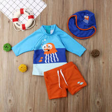 Usa Peuter Kind Baby Jongens Bikini Badmode Leuke Cartoon Octopus Top + Solid Shorts + Badmuts Zwemmen Surfen Pak 3 Pcs Set(China)