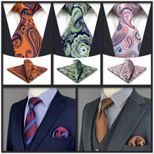 New Green Necktie Pocket Square Set Classic Party Colorful Wedding Ties for Men Dots Classic Acceossories Gifts Paisley Silk