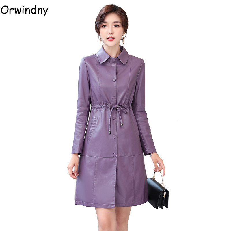 Orwindny Spring Autumn Women's   Leather   Clothing Drawstring Slim   Leather   Trench Ins Fashion Long   Leather   Coat Woman Outwear   Suede