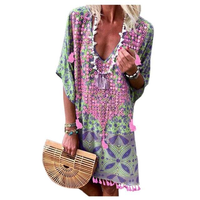 Fanceey Women Beachwear Summer Beach Dress Retro Multicolor Floral Tassel Tunic Beach Cover Up Dress Bikini Cover Up Pareo 2