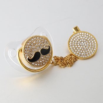 Mustache Pacifier Bling with Chain Transparent Luxury Pacifier Clip Set Rhinestone Pacifier Clip Set Baby Pacifier With Mustache фото