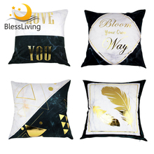 BlessLiving Bronzing Gold Throw Pillow Case Marble Geometric Decorative Cover Black White Cushion Sofa Bed Decor