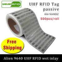 Etiqueta RFID UHF pegatina Alien 9640 EPC 6C incrustaciones húmedas 915mhz868mhz860-960MHZ Higgs3 500 piezas envío gratis etiqueta adhesiva pasiva RFID