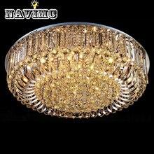Современный роскошный круглый светодиодный потолочный светильник с кристаллами для украшения лобби отеля