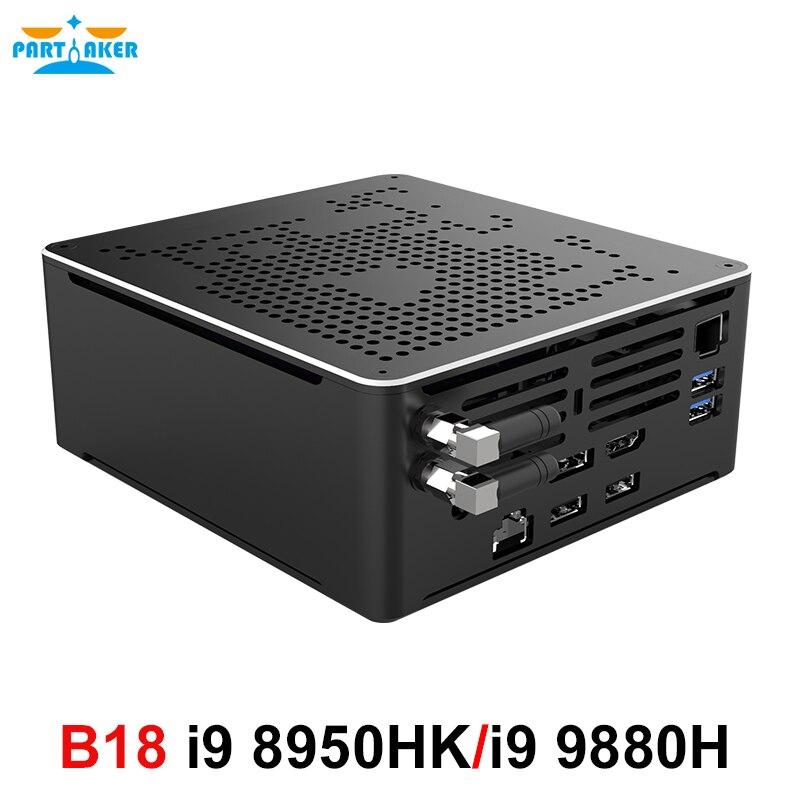 Partaker Gaming Computer Mini PC Intel Core i9 8950HK i9 9880H i7 9850H 4K HD Windows 10 Pro 2*DDR4 2*M.2 NVME AC WiFi DP HDMI