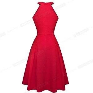 Image 2 - Женское винтажное расклешенное платье Nice forever, однотонное повседневное ТРАПЕЦИЕВИДНОЕ ПЛАТЬЕ С дырками для ключей, модель A195, 2019