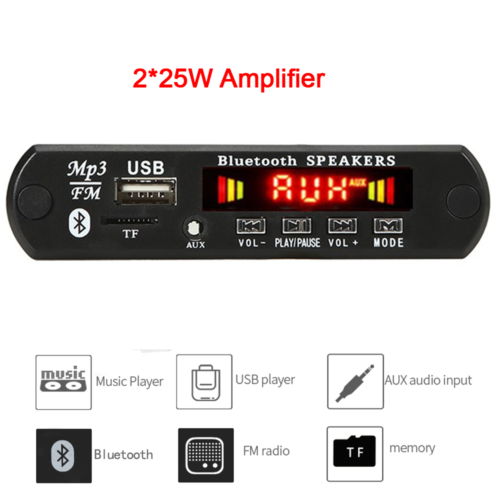 2*25W 50W усилитель MP3 плеер декодер доска 6V 18V Bluetooth 5,0 автомобильный FM радио модуль Поддержка TF USB AUX с пультом дистанционного управления Управление|MP3-плееры|   | АлиЭкспресс