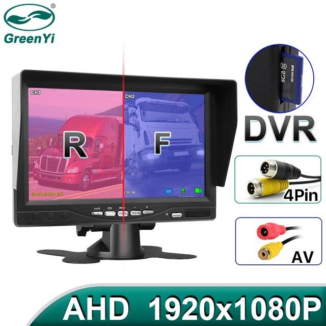 GreenYi AHD enregistrement DVR moniteur de voiture de 7 pouces avec caméra de vue arrière de véhicule 1920*1080P pour carte SD de soutien dautobus de camion