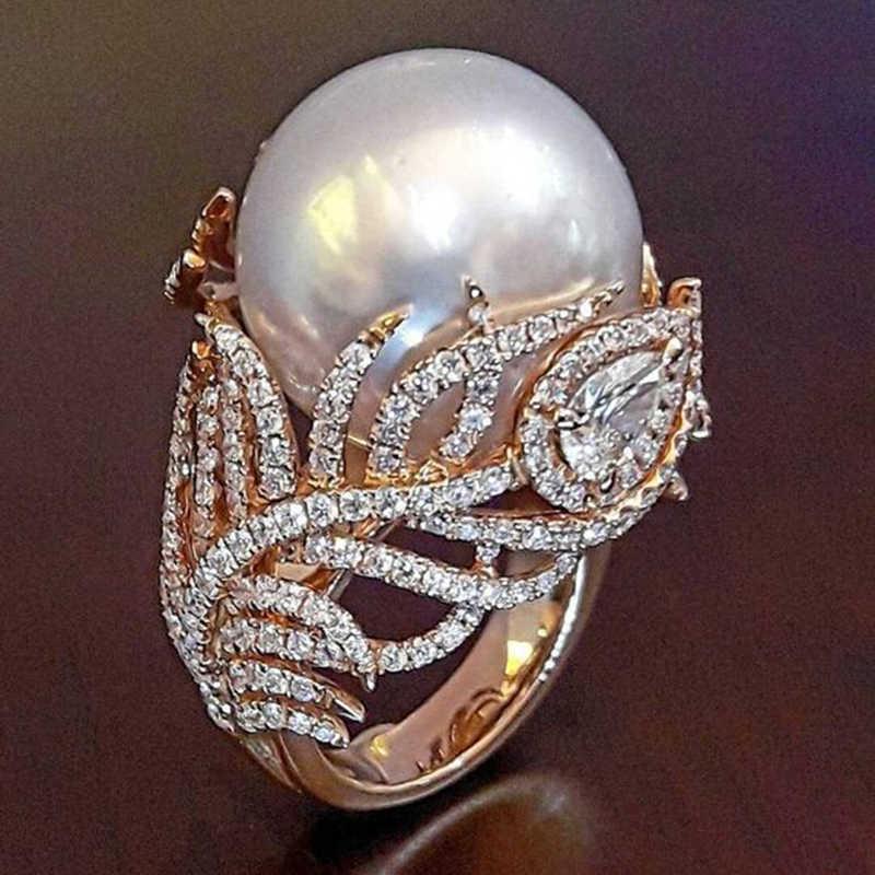 อินเทรนด์จำลอง Pearl Leaf Rose Gold แหวนผู้หญิงเครื่องประดับ Dropshipping anel anillos bagues Femme เครื่องประดับ O3P038