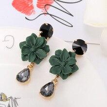 Korean Earrings Female Temperament Fashion Dangle Earrings Long Flower Crystal Earrings Women's Jewelry Gifts
