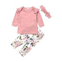 Комплект одежды для новорожденных девочек длинные штаны с оборками