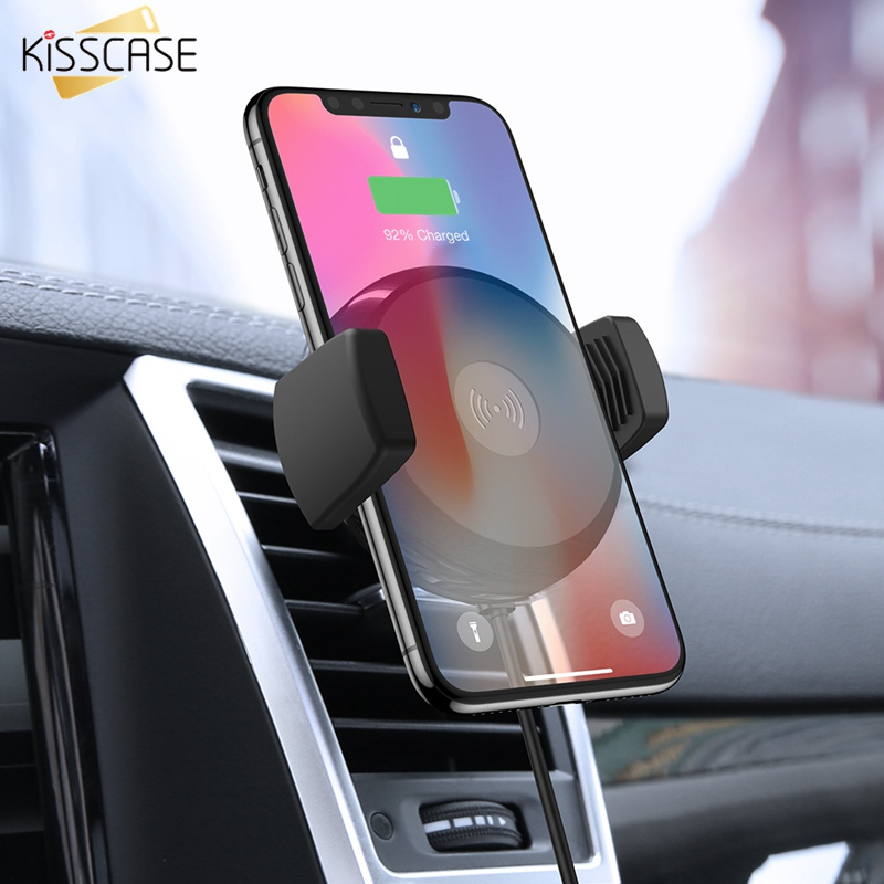 KISSCASE Car Phone Holder For IPhone 11 Pro Max XR XS Max X Samsung Note 10 Plus 9 10 8 S10 S9 10W Fast Wireless Charger Holder