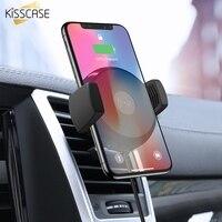 Kisscase 자동차 전화 홀더 아이폰 11 프로 맥스 xr xs 맥스 x 삼성 노트 10 플러스 9 10 8 s10 s9 10 w 빠른 무선 충전기 홀더
