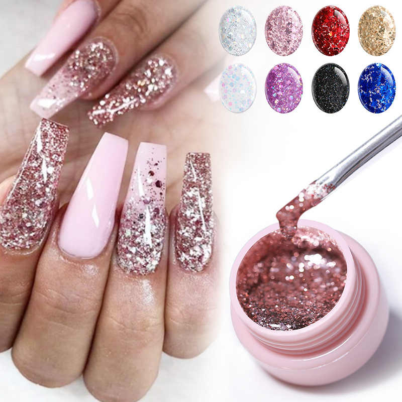 Ur Suiker Glitter Uv Gel Nagellak Super Shining Platina Uv Nagel Gel Lak Semi Permanente Hybrid Nail Enamel Led polish