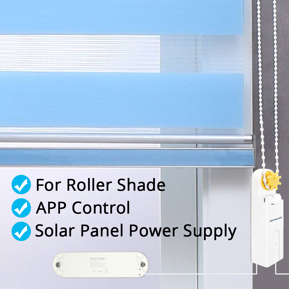 Bluetooth control Smart Elegance European chain motor with solar panel shades roller vertical venetian Zebra Blind 5