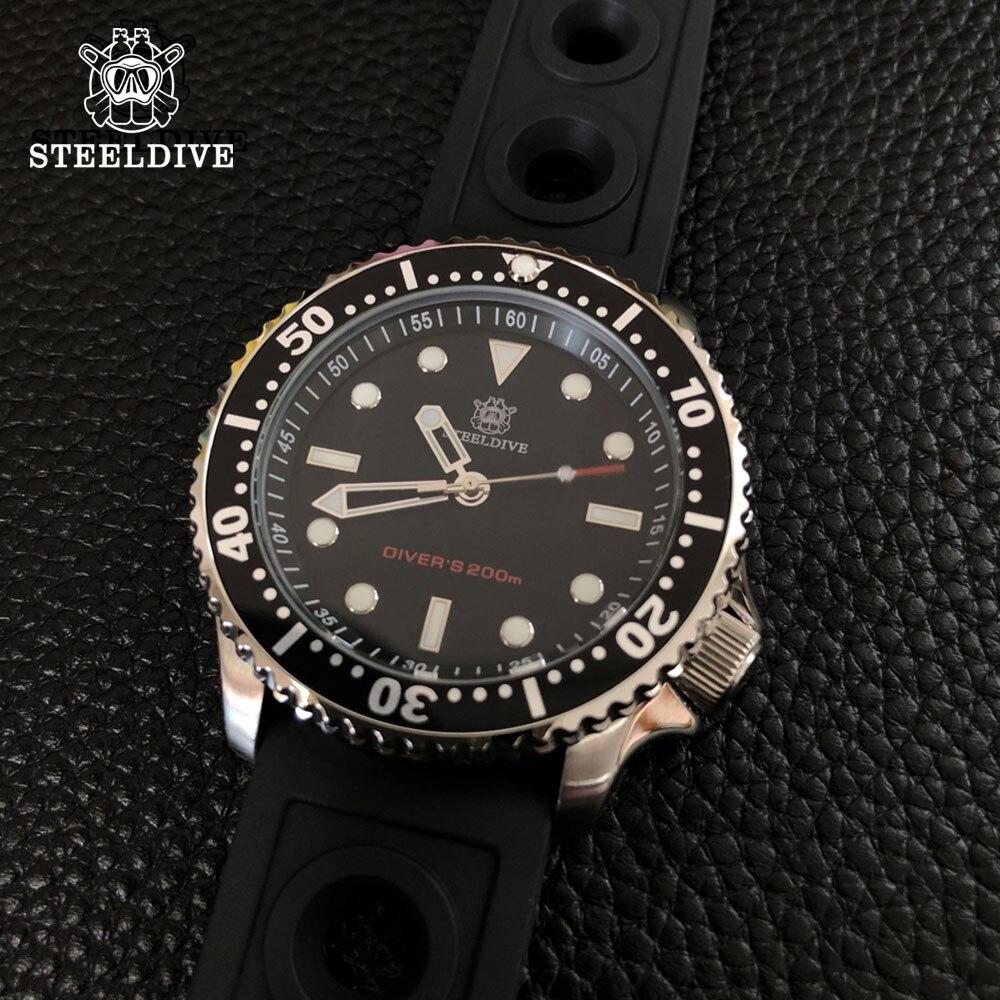 Steeldive Men Outdoor Stainless Steel Underwater Dive Watch 200M Water Resistant Ceramic Bezel Automatic Mechanical Wristwatch